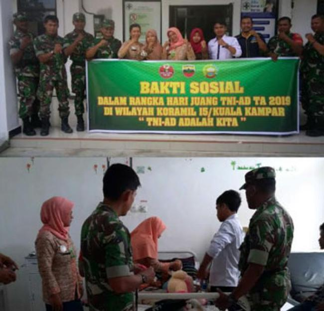 Menyambut Hari Juang TNI-AD 2019, Koramil 15/Kuala Kampar Laksanakan Karya Bakti Dan Bakti Sosial