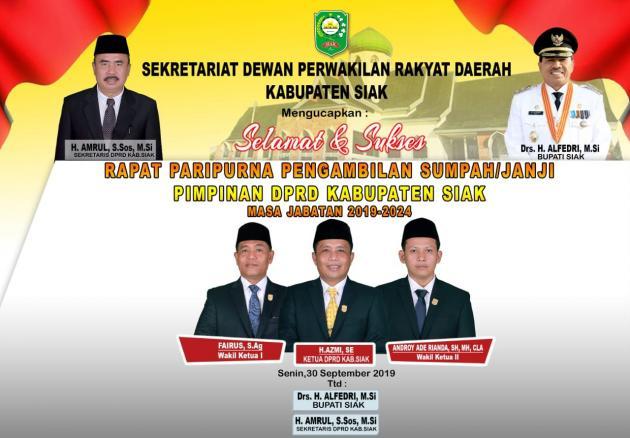selamat dan sukses paripurna pelantikan pimpinan DPRD Siak