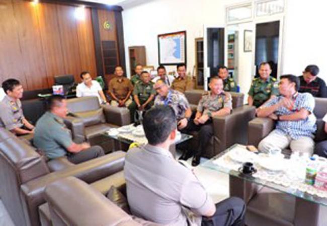 Kasdim 0314/Inhil Sambut Kunjungan Tim Polda Riau Dan Polres Inhil