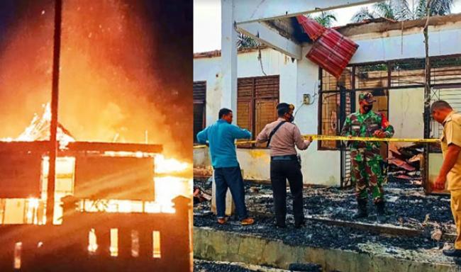 Kantor Desa Sungai Salak di Rohul Terbakar, Damkar Dibantu TNI POLRI Padamkan Api