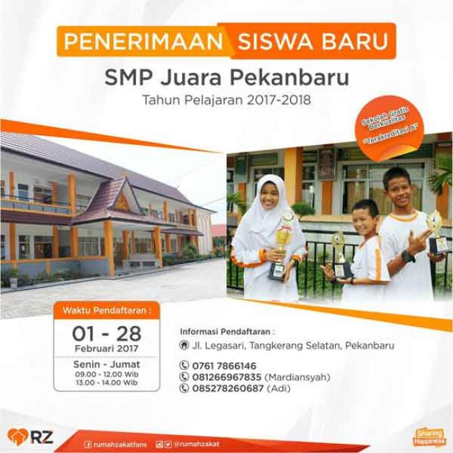 SMP Juara Pekanbaru Buka Pendaftaran Siswa Baru 2017/2018