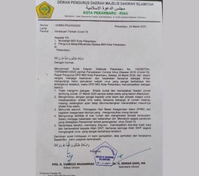 MDI Pekanbaru Keluarkan Surat Edaran Umat Islam Salat Berjamaah di Rumah