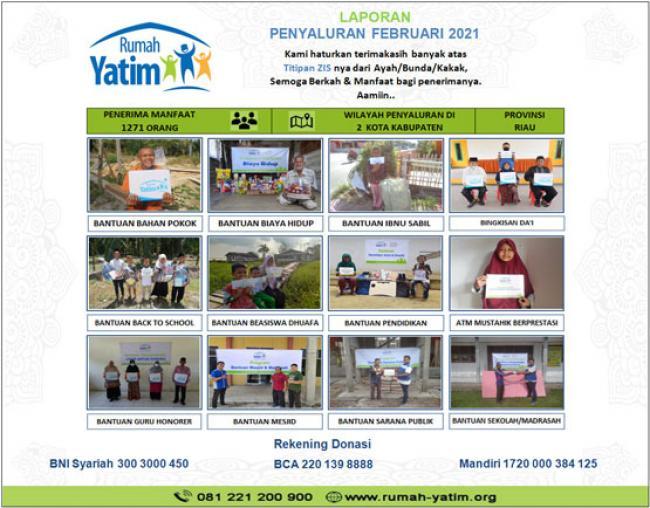 Total 1271 Mustahik Terima Bantuan Rumah Yatim Selama Februari