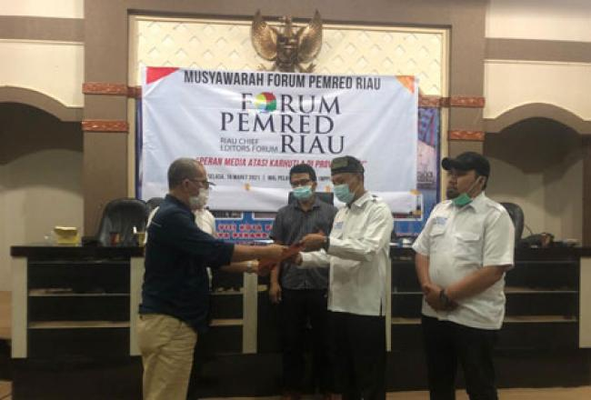Sah, Rahmad Handayani Pimpin Forum Pemred Riau Periode 2021-2024