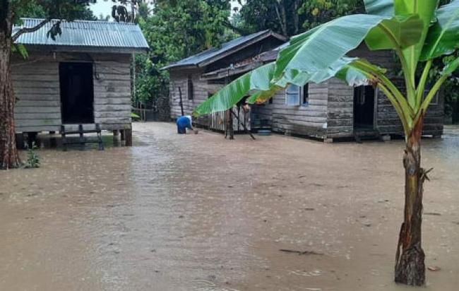 Situasi Terkini Banjir di Desa Sungai Akar Inhu, Gubri Bantu 5 ton Beras