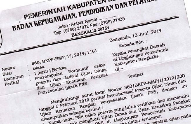 2 Juli, 228 PNS Bengkalis Ikuti Ujian Kenaikan Pangkat