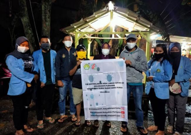 Mahasiswa Unri Kukerta Relawan Covid-19 Kelurahan Purnama Kunjungi Posko Pencegahan Covid-19