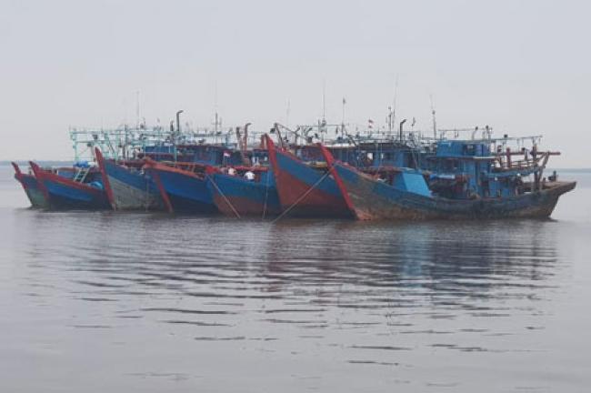7 Kapal Pukat Harimau Diamankan KKP di Perairan Rohil