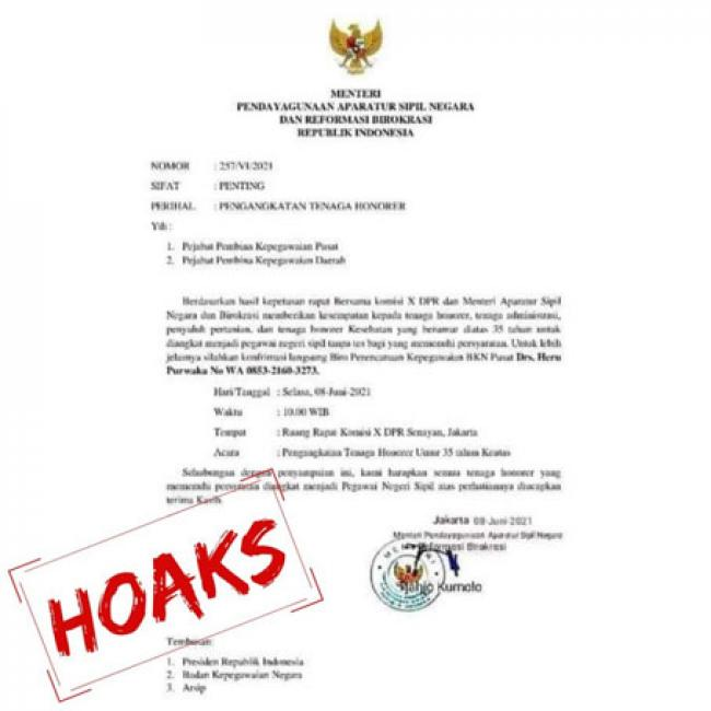 Kementerian PANRB Imbau Masyarakat Waspadai Beredarnya Surat Palsu Pengangkatan Honorer