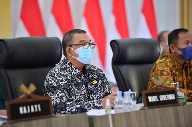 Wagubri Hadiri Rapat Koordinasi Evaluasi Penerapan PPKM IV di Luar Jawa Secara Virtual