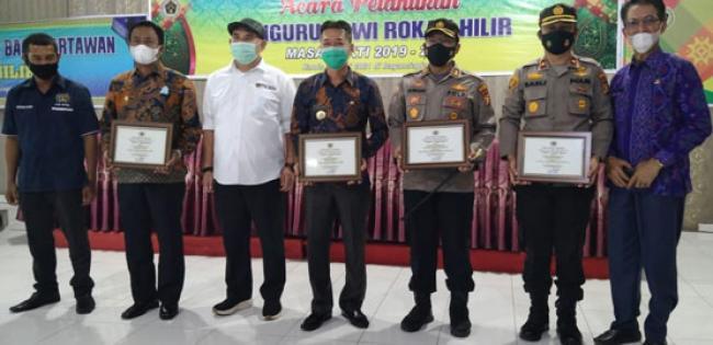 Bupati Afrijal Sintong dan Wakil Bupati Sulaiman Hadiri Pelantikan PWI Rohil