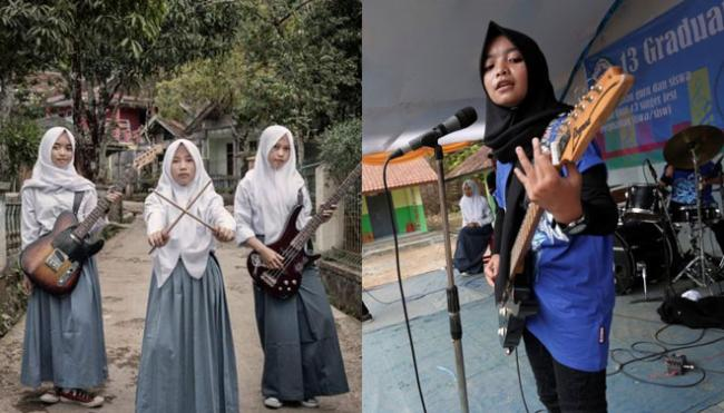 Band Metal Beranggotakan 3 Gadis Ini Tampil Beda dengan Berhijab