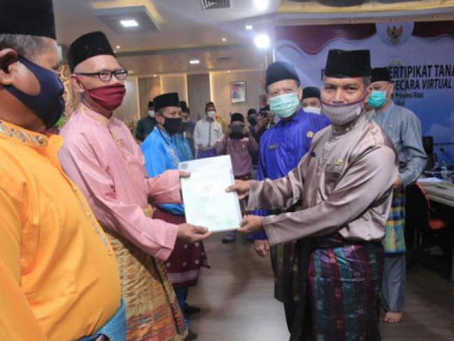 Kabupaten Siak Terima 750 Sertifikat Tanah Program Reforma Agraria Dari Kementerian ATR
