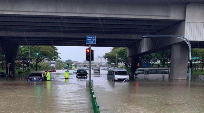 Singapura Banjir, 13 Mobil Terendam Seorang Pengendara Terluka