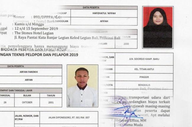 Dua Anak Watan Kabupaten Bengkalis Diundang Kementerian PP dan PA ke Bali