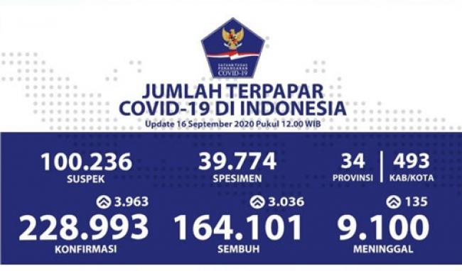 Update 16 September: Rekor Positif Covid-19 Bertambah 3.963 Jadi 228.993 Orang