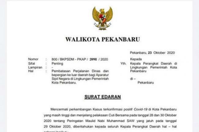 Wali Kota Pekanbaru Keluarkan Surat Edaran, Libur Panjang ASN Dilarang ke Luar Daerah