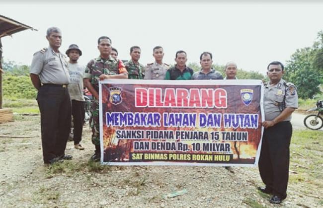 Sinergitas TNI POLRI di Rohul, Tetap Kompak Sosialisasikan Karlahut