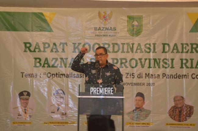 Wagubri Buka Rakorda BAZNAS Se-Riau 2020