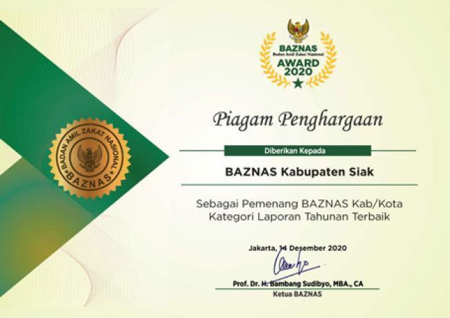 BAZNAS Siak Kembali Raih Anugrah Award 2020 Kategori Laporan Tahunan Terbaik